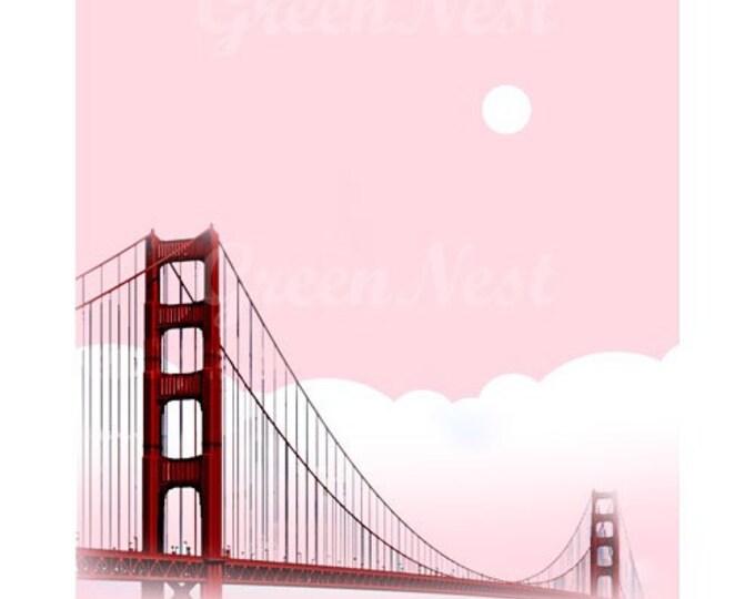 Pink San Francisco Golden Gate Bridge Collage Poster Print