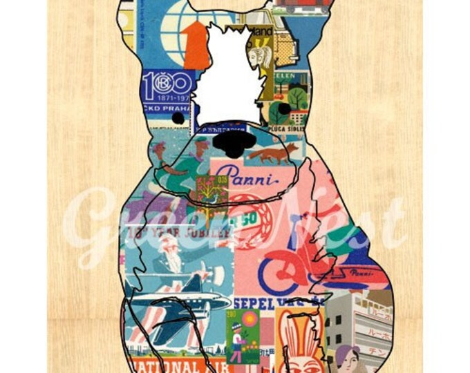 Matchbox dog collage poster print