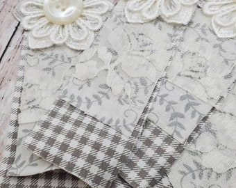 Long shabby chic fabric clusters,layered lace, fabric, flowers.  gray and white checks and gray vines, Embellishments for tags,Junk Journals
