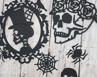 halloween die cut skulls, sugar skull, spider, web,.black cardstock lot of 15