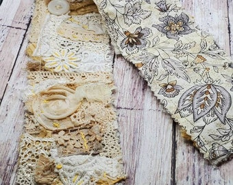 Fabric Snippet Roll - shabby chic in neutrals and bits of yellow and buttons. Embellishment for your Junk Journals, Albums, Scrapbooks