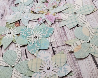 XL layered blue and green coloured paper flowers, lot of 9