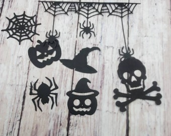 halloween die cuts, spider, spider web, jack o lantern, pumpkin, witch hat, skull, black cardstock, lot of 21