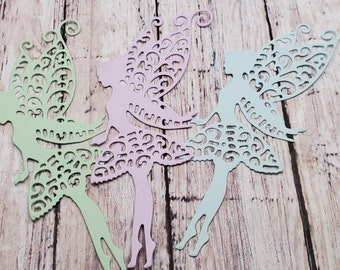 die cut fairy faerie tinkerbell pastel green, lavender and blue cardstock lot of 15 fantasy