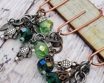 turtle charm with blue and green crystal dangles on medium bronze paperclips, embellishment  for Junk Journal, planners,  Set of 3