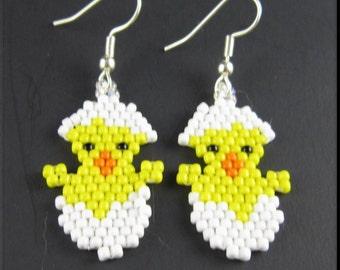 Easter Chick Beadwork Handmade Seed Bead Holiday Dangle Earrings