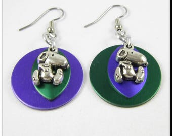 Chainmaille Scalemaille Round Purple and Green Snoopy Charm Earrings