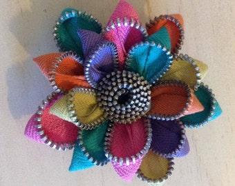Recycled Rainbow Vintage Zipper Flower Brooch