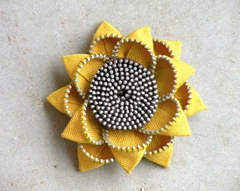 Sunflower Recycled Zipper Flower Brooch or Hair Clip