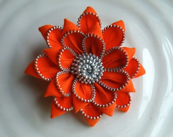 Recycled Vintage Zipper Flower Brooch or Hair Clip