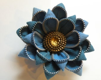 Recycled Blue Vintage Zipper Flower Brooch or Hair Clip