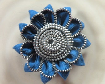Blue Vintage Zipper Flower Brooch or Hair Clip