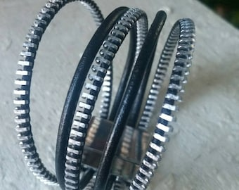 Recycled vintage zipper and leather bracelet