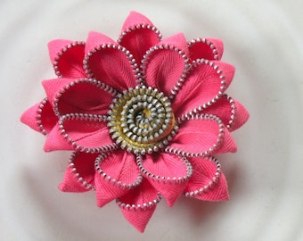 Recycled Vintage Zipper Flower Brooch