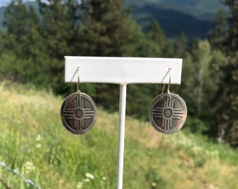 Etched Sterling Silver Earrings.