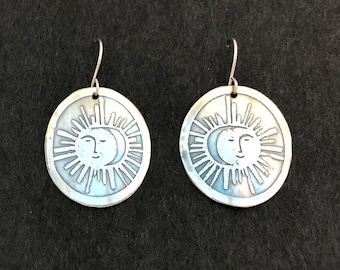 Sterling Silver Smiling Sun Etched Earrings