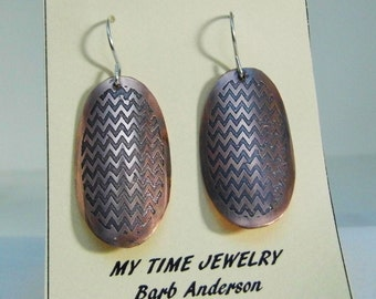 Copper Zig Zag Etched Earrings