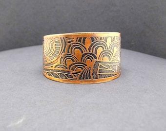 Copper Swirl Design Cuff Bracelet