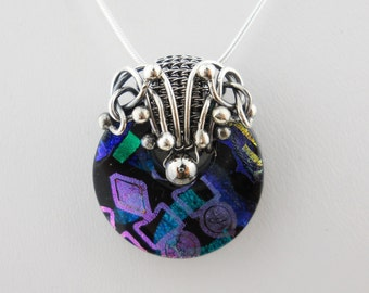The Ram, Fused Dichroic and Fine Silver Pendant