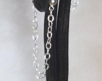 E1151 Verlieren Sie nie eine Rückseite wieder geschnitten Sterling Silber Kugelkette Ohrringe