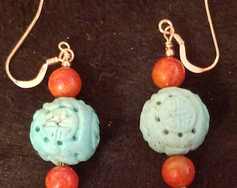 E1152 Carved Green Turquoise, Apple Coral, Rose Gold Earrings