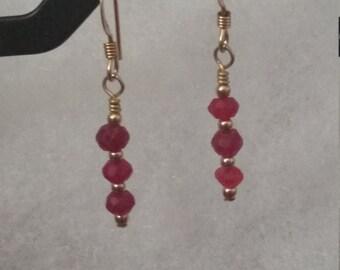 E1077 Ruby Earrings July Birthstone