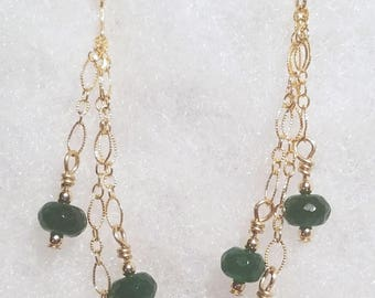 E1147 Genuine Emerald and 14 karat gold filled Earrings (May's Birthstone)