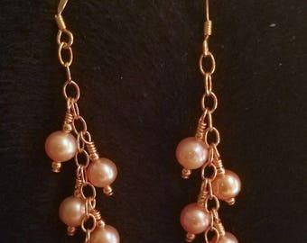 E1158 Pink Pearl Earrings
