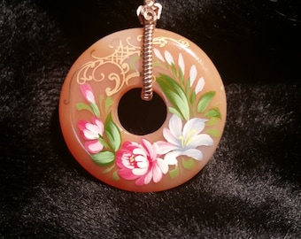 4264 Agate Donut Pendant Hand Painted by a Famous Asain Artist, Signed on the Back