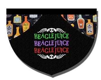 Beetlejuice inspired reversible embroidered pet bandana
