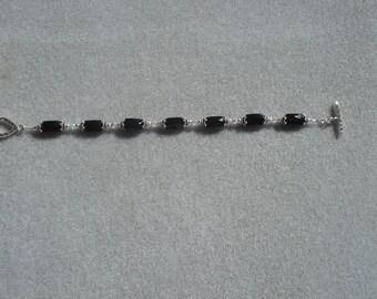 Black Onyx With Swarovski Crystal AB2X Bracelet