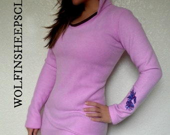 Hooded Mini Dress Embroidered Pink Fleece