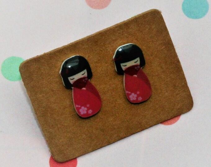 Red Kokeshi Doll Earrings, Teeny Tiny Earrings, Japanese Doll Jewelry, Cute Earrings