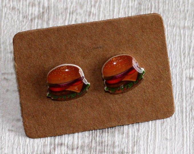Burger Earrings, Teeny Tiny Earrings, Food Jewelry, Cute Earrings