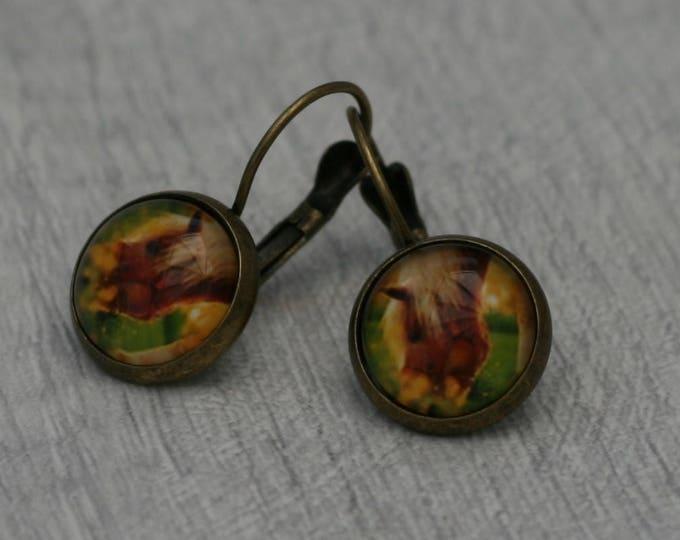 Horse Earrings, Illustration Dangle, Pony Jewelry, Animal Earrings, Equestrian Jewelry