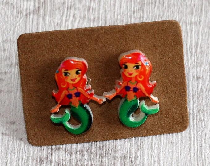Mermaid Earrings, Teeny Tiny Earrings, Lady of the Sea Jewelry, Cute Earrings