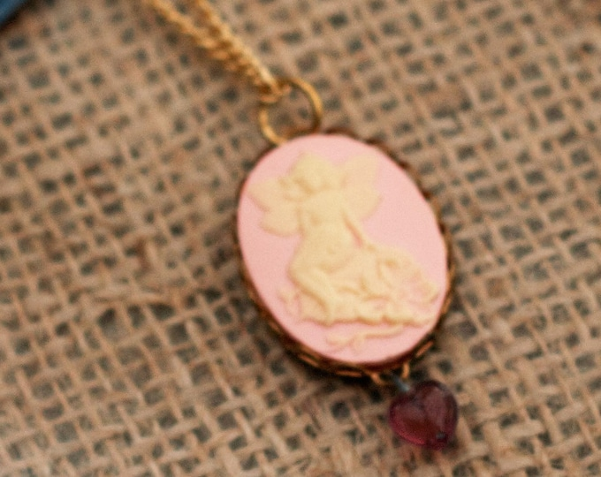 Flower Fairy Necklace, Pink Fairy Cameo, Faerie Pendant