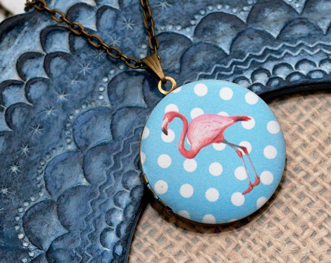Flamingo Locket Necklace, Bird Necklace, Flamingo Pendant, Pink Bird Jewelry