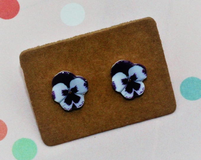 Purple Pansy Earrings, Teeny Tiny Earrings, Floral Jewelry, Cute Earrings