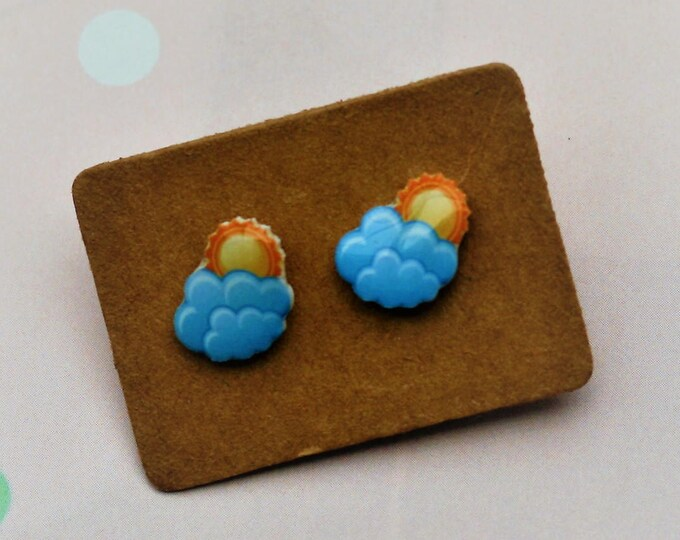 Sun and Cloud Earrings, Teeny Tiny Earrings, Cloud Jewelry, Cute Earrings