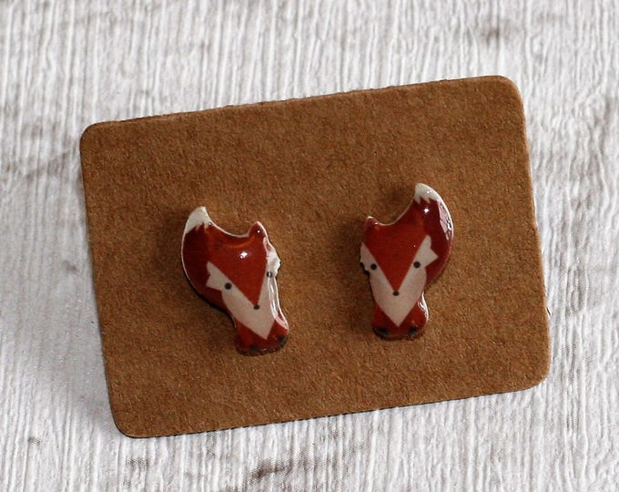 Fox Earrings, Teeny Tiny Earrings, Fox Face Jewelry, Cute Earrings