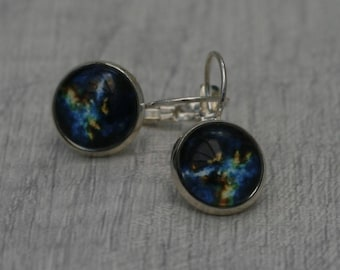 Galaxy Earrings, Nebula Illustration Dangle Earrings, Star Earrings, Space Jewelry