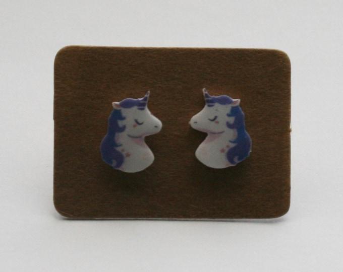 Purple Unicorn Earrings, Teeny Tiny Earrings, Horse Jewelry, Cute Earrings