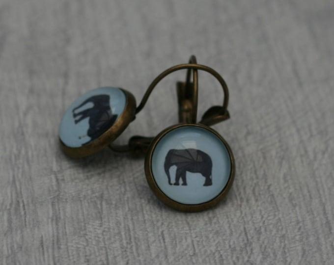 Elephant Earrings, Illustration Dangle, Elephant Jewelry, Animal Earrings