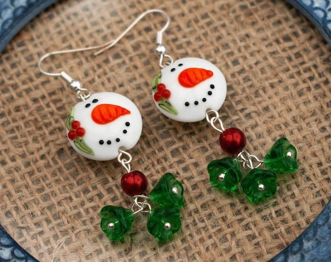 Snowman Earrings, Red and Green Flower Bead Earrings, Snowman Dangle Earrings