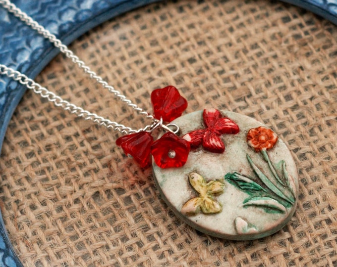 Red Flower Butterfly Necklace, Flower Necklace, Butterfly Pendant