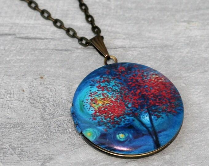 Tree Locket Necklace, Woodland Forest Necklace