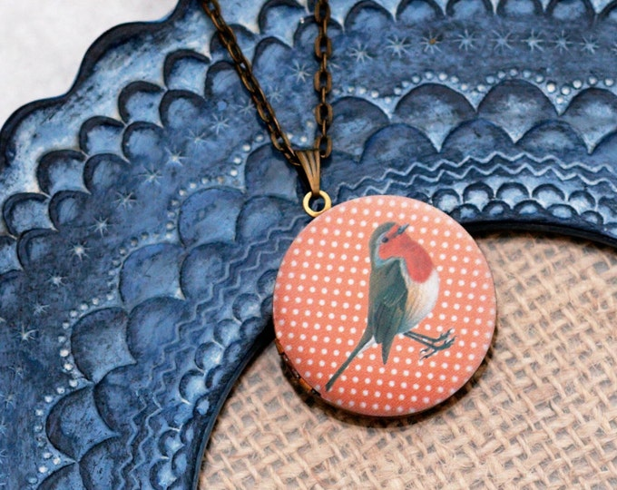 Robin Locket Necklace, Bird Necklace, Woodland, Robin Pendant, Robin Red Breast