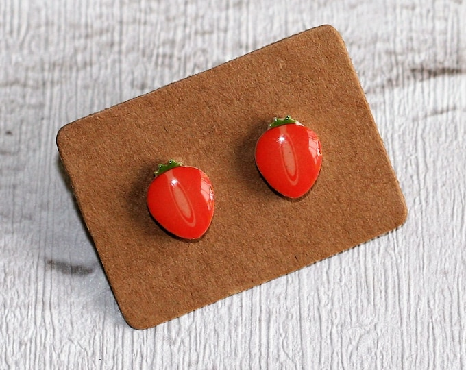 Strawberry Earrings, Teeny Tiny Earrings, Fruit Jewelry, Cute Earrings