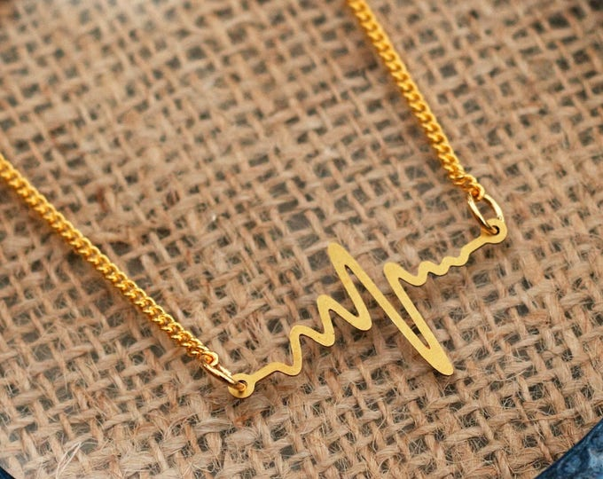 Heartbeat Necklace, Cardiology Jewelry, ECG Heart Necklace, Doctor Gift, Nurse Gift